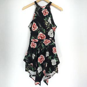 M Romper Dress Sleeveless Black Floral Halter